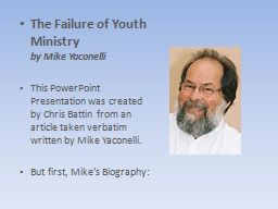 The Failure of Youth Ministry PowerPoint PPT Presentation