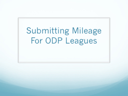 Submitting Mileage For ODP Leagues