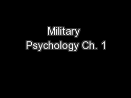 Military Psychology Ch. 1 PowerPoint PPT Presentation