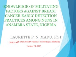 KNOWLEDGE OF MILITATING FACTORS AGAINST BREAST CANCER EARLY