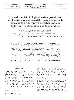 MARINE ECOLOGY PROGRESS SERIES Mar Ecol Prog Ser Published March  Dynamic model of phytoplankton growth and acclimation responses of the balanced growth rate and the chlorophyll acarbon ratio to ligh