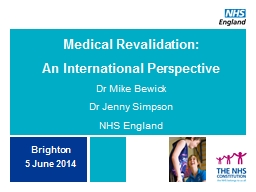 Medical Revalidation: