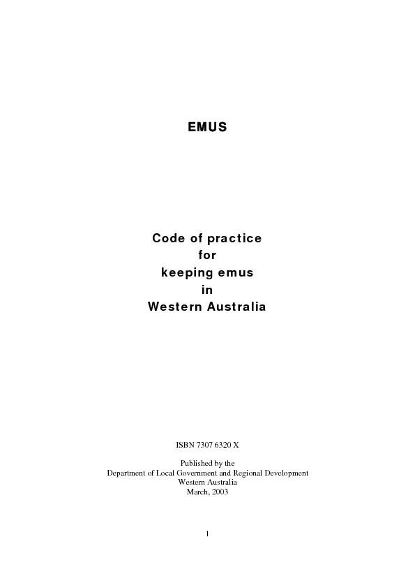 EMUS           Code of practice in ISBN 7307 6320 XPublished by the De