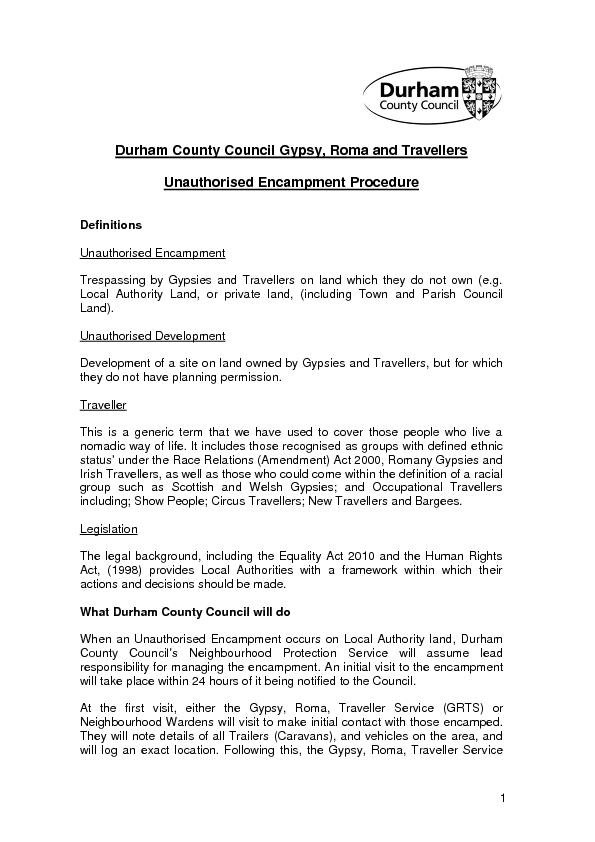Durham County Council Gypsy, Roma and Travellers