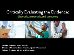 Critically Evaluating the Evidence: PowerPoint PPT Presentation