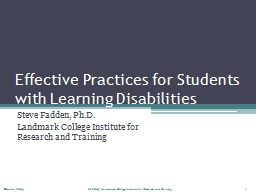 Effective Practices for Students with Learning Disabilities