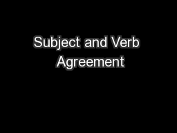 Subject and Verb  Agreement PowerPoint PPT Presentation