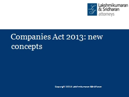 Companies Act 2013: new concepts
