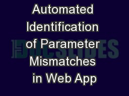 Automated Identification of Parameter Mismatches in Web App