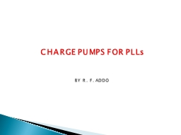 CHARGE PUMPS FOR PLLs