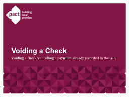 Voiding a check/cancelling a payment already recorded in th