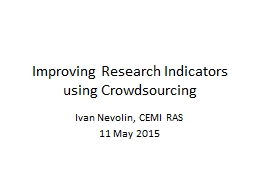 Improving Research Indicators using Crowdsourcing