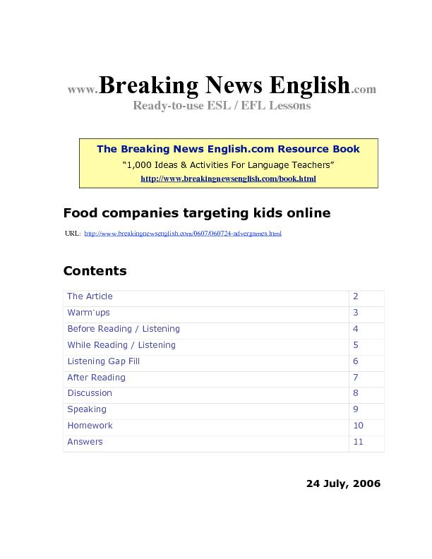 -to-use ESL / EFL Lessons The Breaking News English.com Resource Book