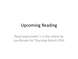 Upcoming Reading