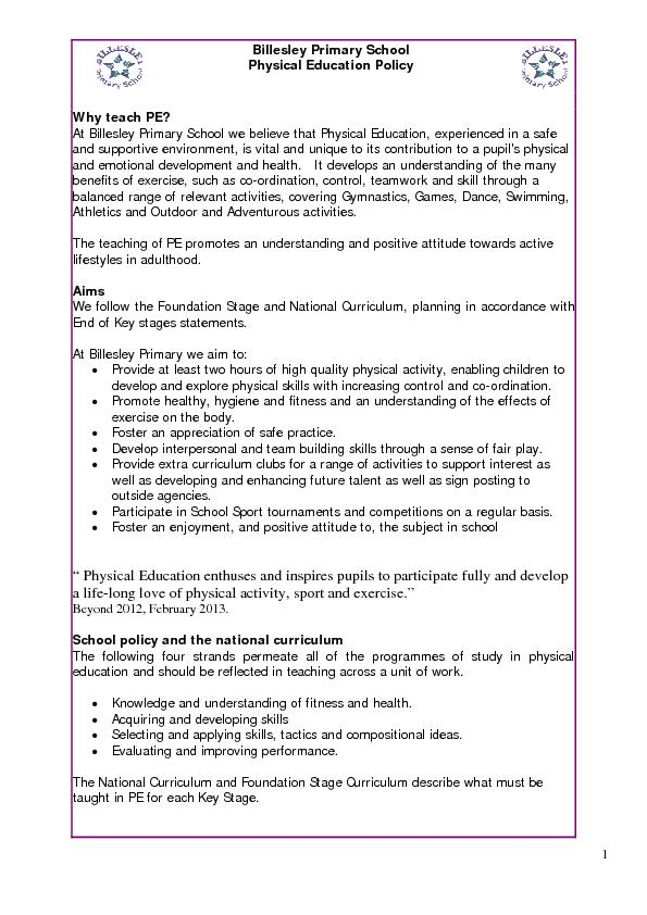 Billesley Primary School Physical Education Policy