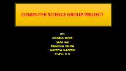 COMPUTER SCIENCE GROUP PROJECT