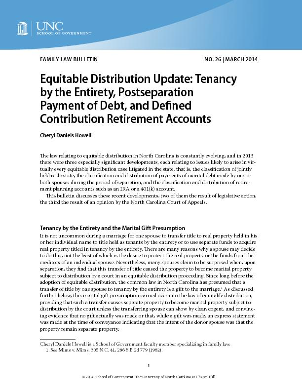 Equitable Distribution Update: Tenancy by the Entirety, Postseparation
