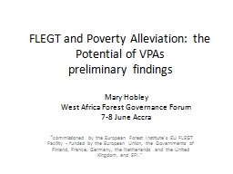 FLEGT and Poverty Alleviation: the Potential of VPAs