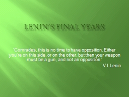 Lenin's Final Years PowerPoint PPT Presentation