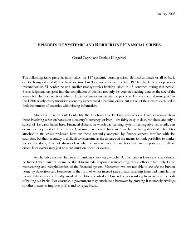 January 2003  EPISODES OF SYSTEMIC AND BORDERLINE FINANCIAL C Gerard C
