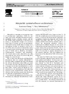 UNCO RRECTED PROOF Adaptable systemsoftware architectures Lawrence Chung a  Nary Subramanian Department of Computer Science The University of Texas at Dallas Richardson TX USA Department of Computer PDF document - DocSlides