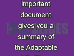 Helping you decide This important document gives you a summary of the Adaptable Life Plan  guaranteed payments