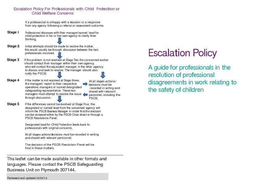 Escalation Policy For Professionals with Child rotectionorChild elfare