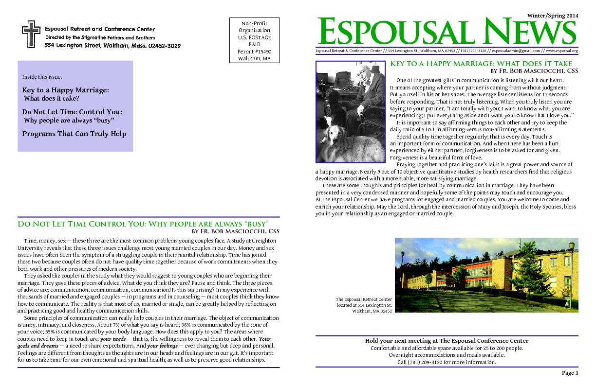 Espousal NewsEspousal Retreat & Conference Center // 554 Lexington St.