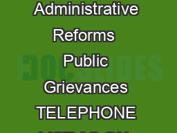 Government of India Department of Administrative Reforms  Public Grievances TELEPHONE LIST AS ON  Fax No