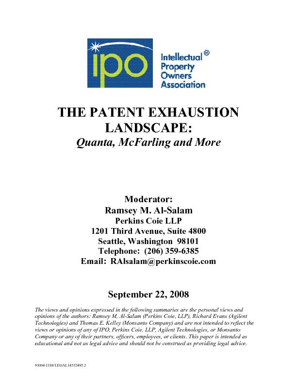 THE PATENT EXHAUSTION