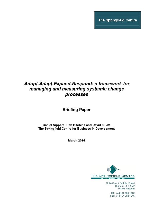 Adopt-Adapt-Expand-Respond: a framework for managing and measuring sys PowerPoint PPT Presentation