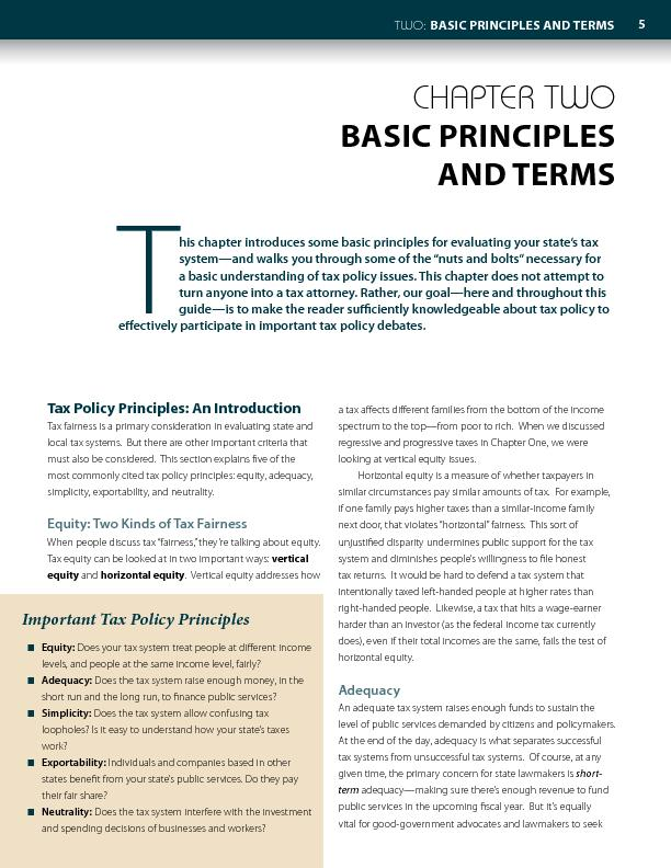 BASIC PRINCILES AND TERMSax Policy Principles: ntroductionTax fairness