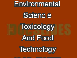 IOSR Journal Of Environmental Scienc e Toxicology And Food Technology IOSR JESTFT ISSN  p ISSN