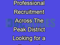 SITUATIONS VACANT Commercial Financial  Professional Recruitment Across The Peak District Looking for a Personal Recruitment Service   www