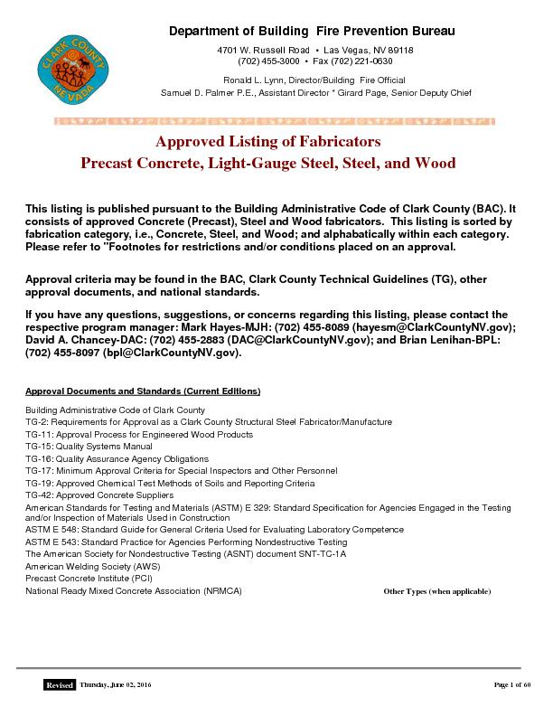 Approved Listing of Fabricators