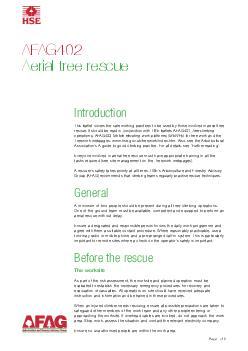 Page  of  AFAG Aerial tree rescue Introduction This leaflet covers the safe working practices to be used by those involved in aerial tree rescue