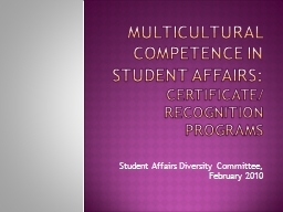 Multicultural competence in Student affairs: