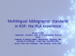 Multilingual bibliographic standards in RDF: the IFLA exper