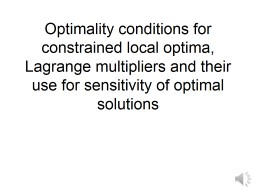 Optimality conditions for constrained local optima, Lagrang