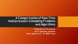 A Categorization of Real-Time  Multiprocessor Scheduling Pr