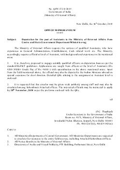 No QPF Government of India Ministry of External Affairs New Delhi the  th October   OFFICE MEMORANDUM  Subject Deputation for the post of Assistants to the Ministry of External Affairs from Centre an