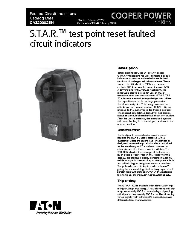 Eaton designs its Cooper Power™ series S.T.A.R.™ test point