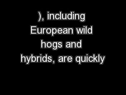 ), including European wild hogs and hybrids, are quickly