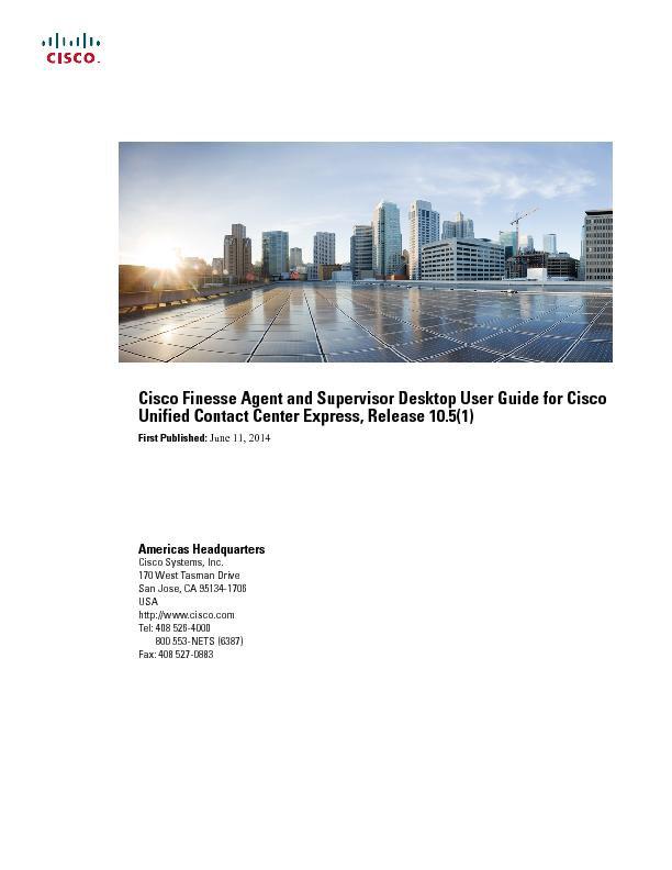 Cisco Finesse Agent and Supervisor Desktop User Guide for CiscoUnified