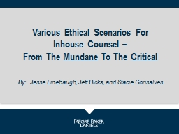 Various Ethical Scenarios For Inhouse Counsel –