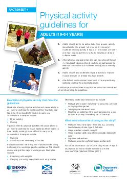 FACTSHEET  Physical activity guidelines for ADULTS  YEARS  PowerPoint PPT Presentation