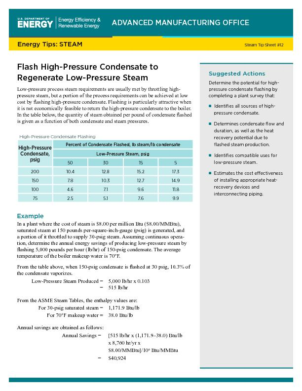 Flash High-Pressure Condensate to