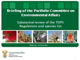 Briefing of the Portfolio Committee on Environmental Affair
