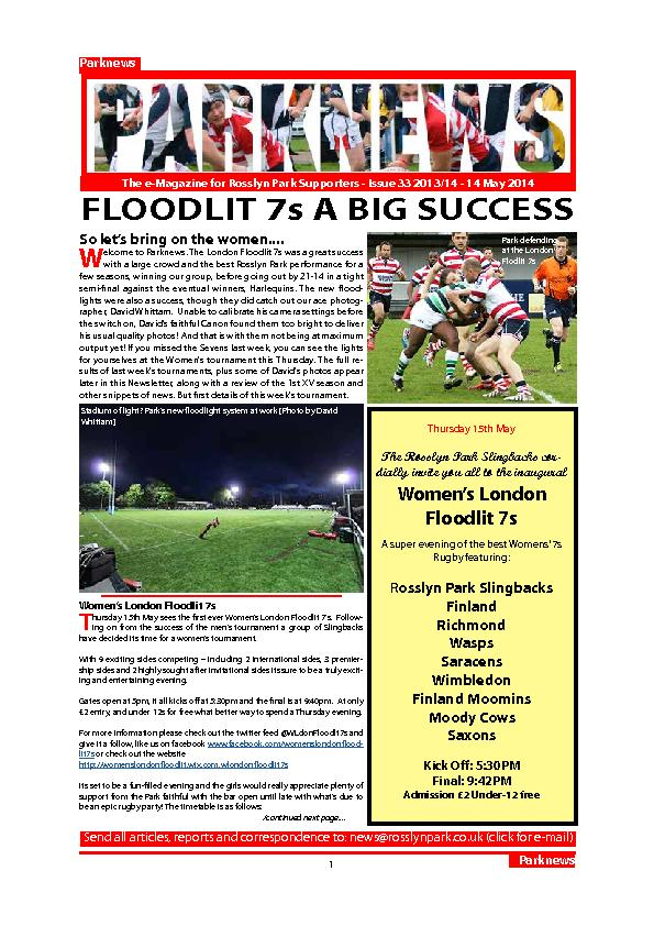 The e-Magazine for Rosslyn Park Supporters - Issue 33 2013/14 - 14 May