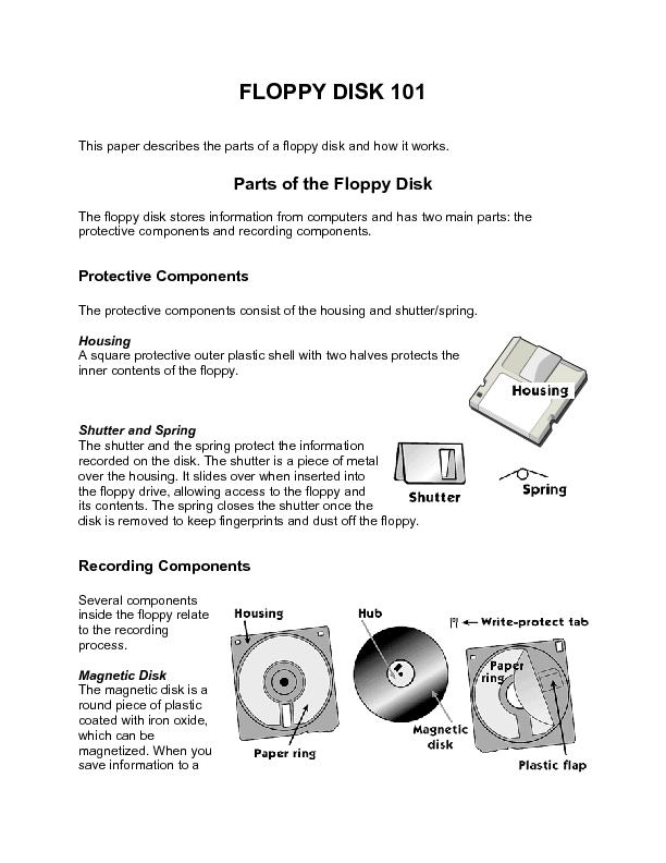 FLOPPY DISK 101   This paper describes the parts of a floppy disk and